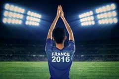 Jugador de fútbol con el traje del euro 2016 Imágenes de archivo libres de regalías