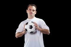 Jugador de fútbol con la bola Foto de archivo libre de regalías