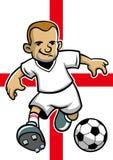 Jugador de fútbol de Inglaterra con el fondo de la bandera libre illustration