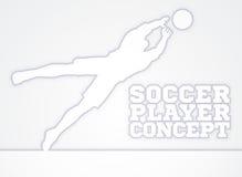 Jugador de fútbol de la silueta del encargado de la meta del salto Fotografía de archivo
