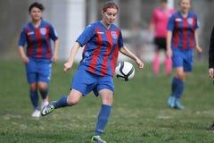Jugador de fútbol de sexo femenino Fotografía de archivo libre de regalías
