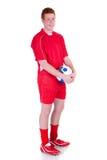 Jugador de fútbol de sexo masculino joven foto de archivo libre de regalías