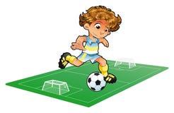Jugador de fútbol del bebé con el fondo Imagen de archivo libre de regalías
