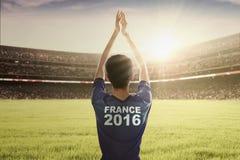 Jugador de fútbol del euro 2016 en el campo Imagen de archivo libre de regalías