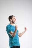 Jugador de fútbol en estudio aislado camisa del selebrate Fotos de archivo libres de regalías