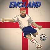 Jugador de fútbol de Inglaterra con el fondo de la bandera ilustración del vector