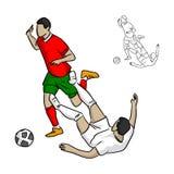 Jugador de fútbol que aborda al opositor en el illustrat del vector del juego Imagenes de archivo