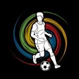 Jugador de fútbol que corre con vector del gráfico de la acción del balón de fútbol Fotos de archivo