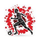 Jugador de fútbol que corre con vector del gráfico de la acción del balón de fútbol Imagen de archivo