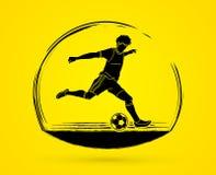 Jugador de fútbol que funciona con y que golpea un vector del gráfico con el pie de la acción de la acción de la bola Imagen de archivo libre de regalías
