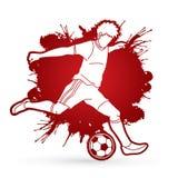 Jugador de fútbol que funciona con y que golpea un vector del gráfico con el pie de la acción de la acción de la bola Fotografía de archivo