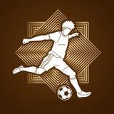 Jugador de fútbol que funciona con y que golpea un vector del gráfico con el pie de la acción de la acción de la bola Foto de archivo