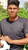 Jugador de fútbol de sexo masculino subrayado fotografía de archivo