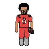 Jugador de fútbol americano de dibujo con el casco y la bola Foto de archivo
