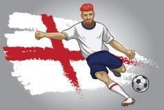 Jugador de fútbol de Inglaterra con la bandera como fondo Imagenes de archivo