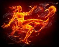 Jugador de fútbol del fuego Imágenes de archivo libres de regalías