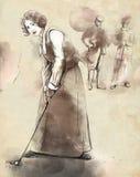 Jugador de golf - ejemplo dibujado y pintado de una mano stock de ilustración