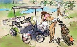 Jugador de golf - ejemplo dibujado y pintado de una mano ilustración del vector