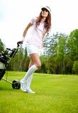 Jugador de golf femenino Fotos de archivo libres de regalías