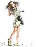 Jugador de golf hermoso - ejemplo dibujado y pintado de una mano libre illustration