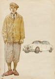 Jugador de golf - hombre de la vendimia (con el coche) Imágenes de archivo libres de regalías