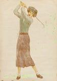 Jugador de golf - mujer de la vendimia Imágenes de archivo libres de regalías