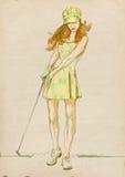 Jugador de golf - mujer moderna - 2 stock de ilustración