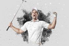 Jugador de golf que sale de una ráfaga del humo Fotografía de archivo libre de regalías