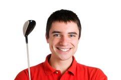 Jugador de golf sonriente foto de archivo libre de regalías