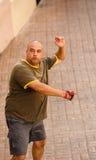 Jugador de gran alcance de la pelota vasca Imagen de archivo