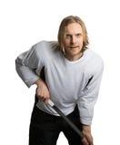 Jugador de Hocke con el palillo a disposición Imágenes de archivo libres de regalías