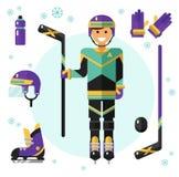 Jugador de hockey con el equipo Fotografía de archivo libre de regalías
