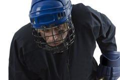 Jugador de hockey de mirada enojado Imagenes de archivo