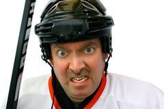 Jugador de hockey en el rectángulo de pena Imagen de archivo