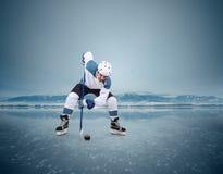 Jugador de hockey en la superficie del lago del hielo Fotografía de archivo