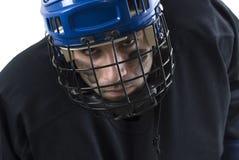 Jugador de hockey enojado Imagen de archivo libre de regalías