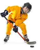 Jugador de hockey joven con el palillo y el duende malicioso Fotos de archivo libres de regalías