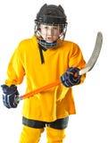 Jugador de hockey joven con la cara enojada Foto de archivo