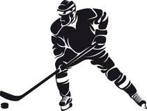 Jugador de hockey, silueta Fotos de archivo libres de regalías