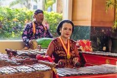 Jugador de música de Traditiional en Indonesia Foto de archivo