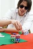 Jugador de póker lleno de la inclinación Fotos de archivo