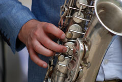Jugador de saxofón Foto de archivo