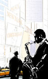 Jugador de saxofón en una calle de Nueva York cerca del Times Square libre illustration