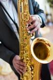 Jugador de saxofón Fotografía de archivo libre de regalías