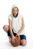 Jugador de sexo femenino de la cesta Imagen de archivo libre de regalías