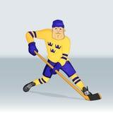 Jugador de Suecia del equipo de hockey del hielo Imagen de archivo libre de regalías