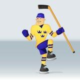 Jugador de Suecia del equipo de hockey del hielo Foto de archivo libre de regalías