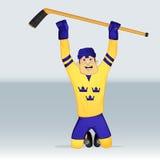 Jugador de Suecia del equipo de hockey del hielo Fotos de archivo libres de regalías