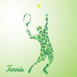 Jugador de tenis abstracto que golpea la bola con el pie Foto de archivo libre de regalías