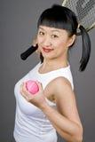 Jugador de tenis asiático de la mujer Imagen de archivo